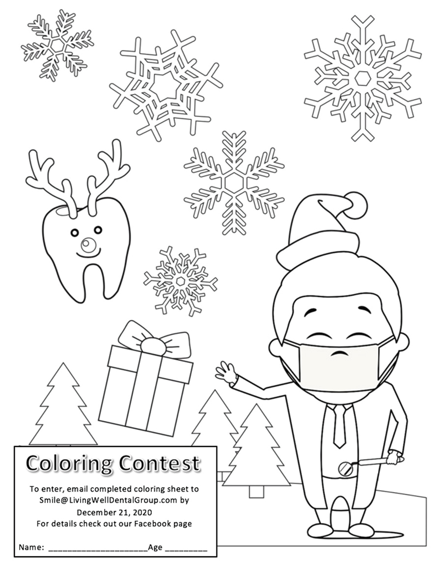 Living Well Dental Coloring Contest<br>Print out this coloring worksheet and enter the Living Well Dental coloring contest
