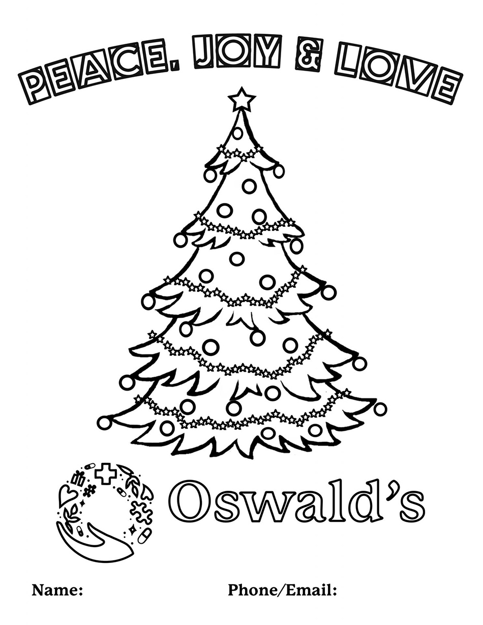 Oswald's Pharmacy 2020 Coloring Contest<br>Please save, print out, color, and then submit at the pharmacy or scan and email to info@oswaldspharmacy.com. The winner will be drawn at random on 12/30/2020 for a prize!